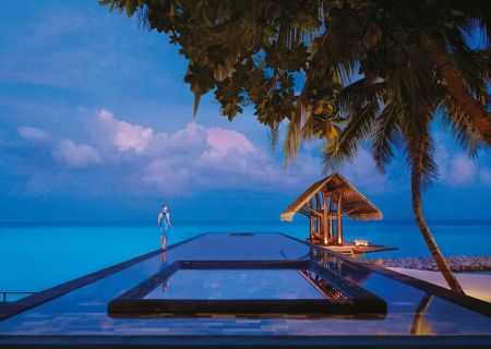 One And Only Reethi Rah Lap Pool During The Evening